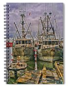 Docked Fishing Boats Hdr Spiral Notebook
