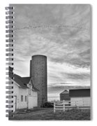 Early Morning On The Farm Bw Spiral Notebook
