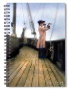 Eighteenth Century Man With Spyglass On Ship Spiral Notebook