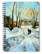 Evening Winter Walk Streets Of Montreal After The Snowstorm Spiral Notebook