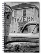 Expired A Black And White Photograph Of A Tavern Parking Meters And Vintage Junk Auto Spiral Notebook