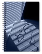 Eye Glasses Book And Venetian Blind In Blue Spiral Notebook