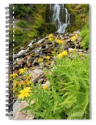 Falls To The Flowers Spiral Notebook