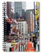 Amidst Color And Construction In Times Square Spiral Notebook