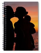 Family Silhouettes At Sunset Spiral Notebook
