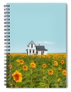 Farmhouse In A Field Of Sunflowers Spiral Notebook