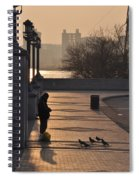 Feeding The Pigeons At Dawn Spiral Notebook