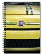 Fiat 500 Yellow With Racing Stripe Spiral Notebook
