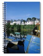 Fishing Boats At A Harbor, Roundstone Spiral Notebook