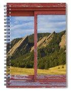 Flatirons Boulder Colorado Red Barn Picture Window Frame Photos  Spiral Notebook