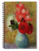 Floral Arrangement In Green Vase Spiral Notebook