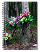 Floral Bicycle On A Cloudy Day Spiral Notebook