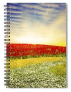 Floral Field On Sunset Spiral Notebook