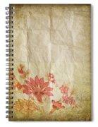 Flower Pattern On Old Paper Spiral Notebook