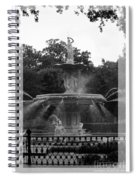 Forsyth Park Fountain - Black And White Spiral Notebook