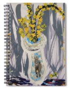 Forsythia In Old Clear Vase Mary Carol Spiral Notebook