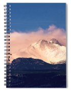 Four Skydivers With Longs Peak And Mount Meeker Rocky Mountain H Spiral Notebook