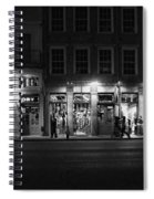 French Quarter Shopping At Night - Black And White Spiral Notebook