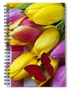 Fresh Tulips And Red Butterfly Spiral Notebook