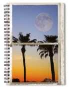 Full Moon Palm Tree Picture Window Sunset Spiral Notebook