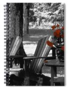 Garden Chairs With Red Flowers In A Pot Spiral Notebook