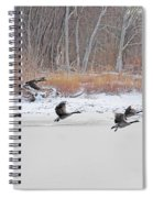 Geese Take Flight Over The Maumee River Spiral Notebook