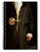 Gentleman In Vintage Clothing Holding A Candlestick Spiral Notebook