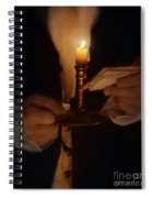Gentleman In Vintage Clothing With Candlestick And Letters Spiral Notebook