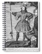 George Cumberland (1558-1605). George De Clifford Cumberland. 3rd Earl Of Cumberland. English Naval Commander And Courtier. Line Engraving, English, Early 19th Century Spiral Notebook