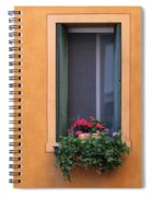 Geraniums In A Yellow Window In Treviso Italy Spiral Notebook