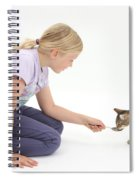 Girl Feeding Kitten From A Spoon Spiral Notebook