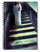 Girl In Nightgown On Steps Spiral Notebook
