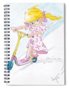 Girl On A Microscooter Cartoon Spiral Notebook