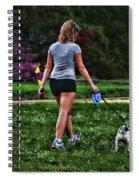 Girl Walking Dog Spiral Notebook
