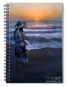 Girl Watching The Sun Go Down At The Ocean Spiral Notebook