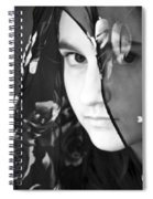 Girl With A Rose Veil 3 Bw Spiral Notebook