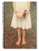 Girl With Old Books Spiral Notebook