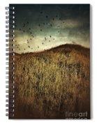 Grassy Hill Birds In Flight Spiral Notebook