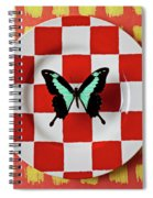 Green And Black Butterfly On Red Checker Plate Spiral Notebook