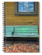 Green Bench At Train Station Spiral Notebook