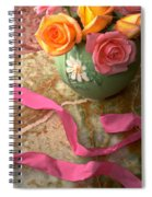 Green Vase With Roses Spiral Notebook