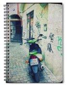 Green Vespa In Prague Spiral Notebook