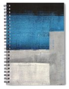 Straight Forward - Teal And Grey Abstract Art Painting Spiral Notebook
