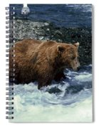 Grizzly Bear Fishing Spiral Notebook