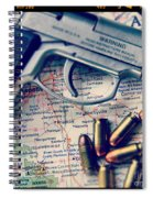 Gun And Bullets On Map Spiral Notebook