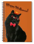 Halloween Card - Black Cat Ready To Party Spiral Notebook