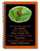 Halloween Card - Spider And Poem Spiral Notebook