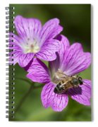 Hardy Geranium And Honey Bee Spiral Notebook