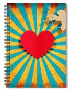 Heart And Cupid On Paper Texture Spiral Notebook