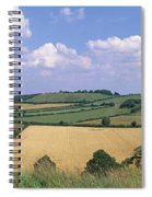 High Angle View Of Patchwork Fields Spiral Notebook